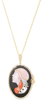 Artisan 18K Yellow Gold, 1.03 Total Ct. Diamond, Coral & Pink Opal Cameo Pendant Necklace