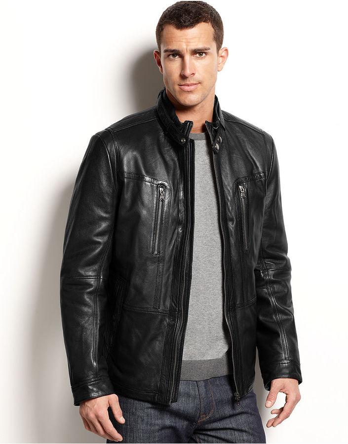 HUGO BOSS Jacket, Neldo Leather Jacket