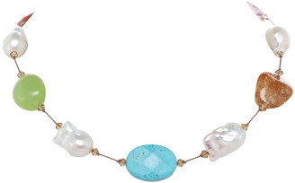 Margo Morrison Large Multi-Stone and Baroque Pearl Necklace with Swarovski Crystal, Sterling Silver Clasp