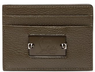 Christian Louboutin Kios Spike Leather Cardholder - Mens - Green Multi