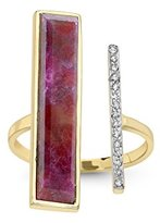 Jade Jagger Never Ending Ruby and Diamond Pave 14ct Gold Asymmetrical Ring - Size L