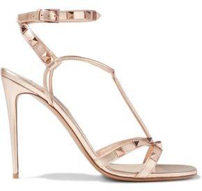 Valentino Rockstud Metallic Textured-leather Sandals