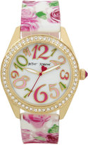 Betsey Johnson Women's Pink Floral Printed White Silicone Strap Watch 40mm BJ00048-180