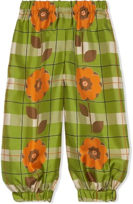 Gucci Kids Interlocking G floral-print tapered trousers