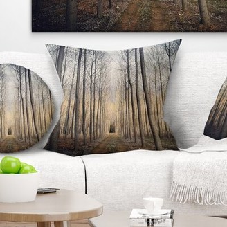 East Urban Home Forest Thick of Poplars at Sunset Pillow East Urban Home
