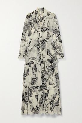 Diane von Furstenberg Anastasia Tiered Floral-print Silk-chiffon Maxi Dress - Ivory