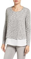 Gibson Women's Mixed Media Layered Look Top