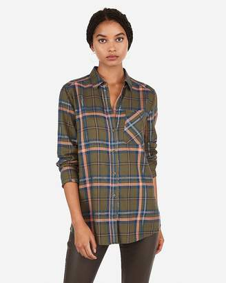 Express Metallic Plaid Boyfriend Flannel Shirt