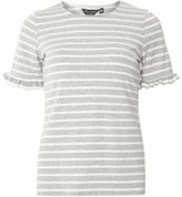 Dorothy Perkins Womens Grey Stripe Flutter Sleeve T-Shirt- Grey