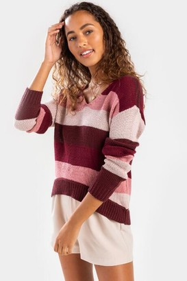 francesca's Angey Colorblock V- Neck Sweater - Burgundy
