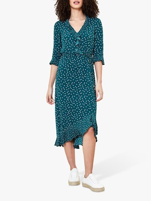 Oasis Patched Ruffle Spot Print Dress, Green/Multi