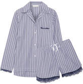 Skin Lace-trimmed Striped Cotton Pajama Set