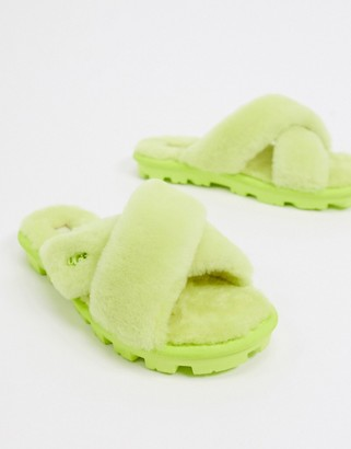 UGG Fuzette cross strap fluffy slippers in neon green