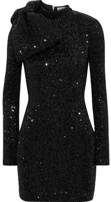 Rebecca Vallance Mica Bow-embellished Sequined Metallic Crepe Mini Dress