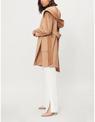 Max Mara Womens Brown Rialto Wrap-Over Camel Hair Coat