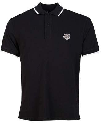 Kenzo Tiger Crest Tipped Polo Shirt Colour: BLACK, Size: SMALL