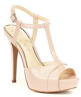 Jessica Simpson Barretta Patent Leather T-Strap Stiletto Dress Sandals