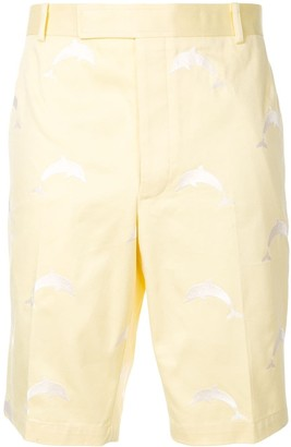 Thom Browne embroidered dolphin shorts