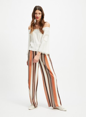Miss Selfridge Stripe Linen Blend Belted Wide Leg Trousers