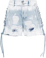 Faith Connexion lace-up distressed denim shorts