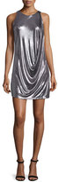 Halston Sleeveless Round-Neck Draped Foil Mini Dress, Gunmetal