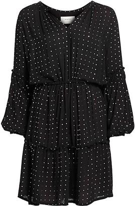 MUNTHE Kira Metallic-Print Long-Sleeve Blouson Dress