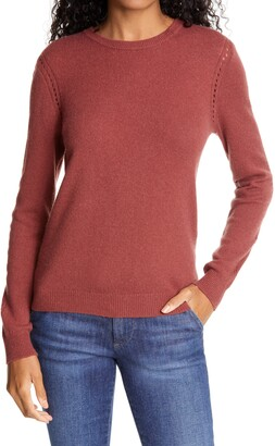 Frame Pointelle Detail Wool & Cashmere Sweater