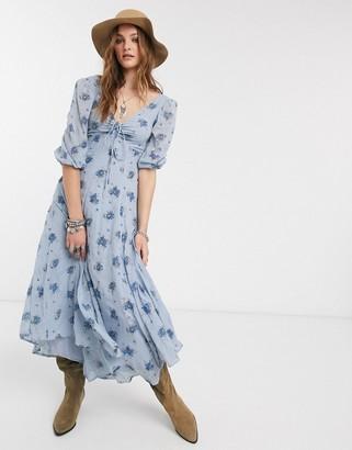 Free People sea glass floral midi dress-Blue