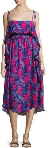 Tanya Taylor Josefina Printed Silk Midi Dress, Pink/Blue