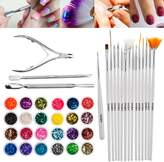 Premium Quality Set Kit of Nail Art Manicure Pedicure Accessories With 24 Coloured Glitters / Caviars / Crystals, 15 Professional Brushes / Stripers / Liners And 3 Tools For Cuticles Trimming / Pushing / Cutting / Removing By VAGA®