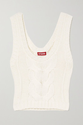 STAUD Kind Cropped Cable-knit Cotton-blend Tank - Ivory
