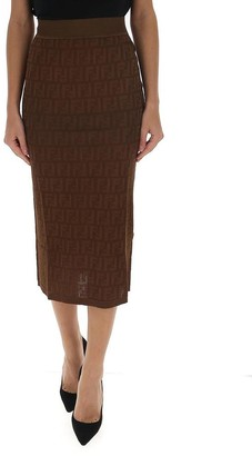Fendi FF Monogram Pencil Skirt