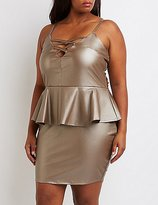 Charlotte Russe Plus Size Faux Leather Lattice Peplum Dress