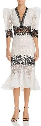 Bronx AND BANCO Elizabeth Contrast Lace Midi Dress