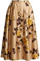 Rochas Rose-print satin midi skirt