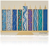 Constance Kay Hand-Painted Menorah Holiday Card-WHITE, NO COLOR