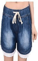 Miaokalin Women's Plus Size High-rise Harem Sweat Denim Shorts
