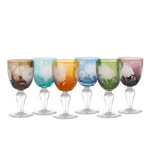 None none - Set of Six 'Peony' Multi Coloured Etched Wine Glasses - Glass/Orange/Blue