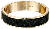Cole Haan Wide Hinged Leather Inlay Bangle