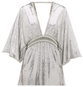 Paco Rabanne Crystal-embellished Plunge-neck Top - Silver