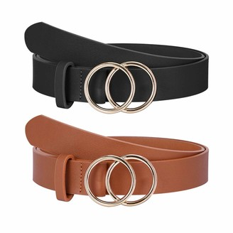 Ook Pack of 2 Double Ring Buckle Belts Women's Leather Waist Belt for Jeans Dresses - Multicolour - Medium