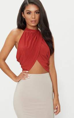 PrettyLittleThing Spice Neck Wrap Crop Top