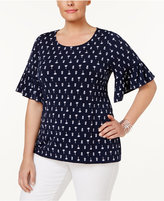 Charter Club Plus Size Printed Ruffle-Sleeve Top, Created for Macy's
