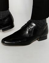Frank Wright Smart Derby Shoes In Black Leather