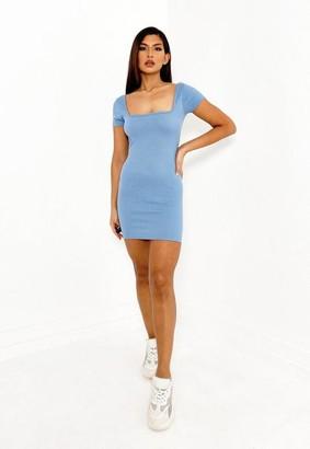Missguided Blue Rib Square Neck Mini Dress