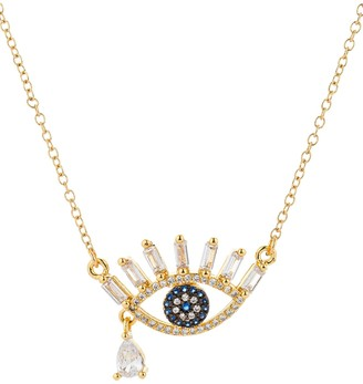 Eye Candy La 14K Goldplated Sterling Silver & Crystal Evil Eye Teardrop Pendant Necklace