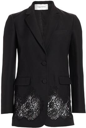 Valentino Lace Inset Wool & Silk Blazer