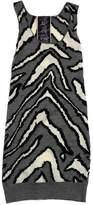 L.A.M.B. Grey & Cream Print Wool Sleeveless Dress