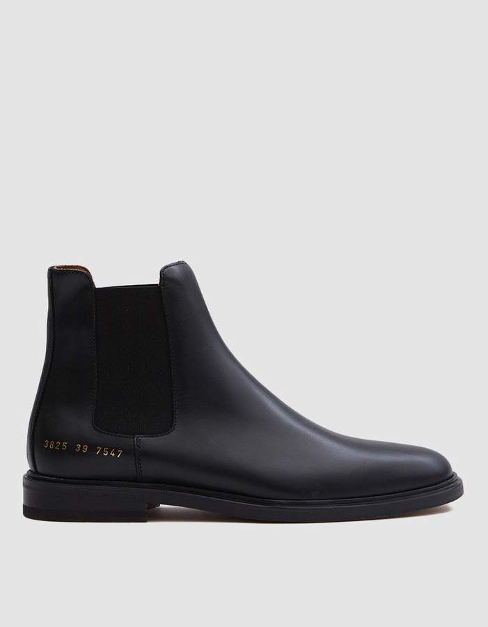 Common Projects Woman By Chelsea Boot in Black Leather