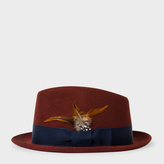 Paul Smith Men's Rust Brown Wool-Felt Trilby With Feather